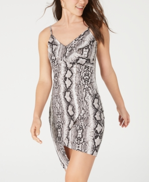 Almost Famous Crave Fame Juniors' Printed Asymmetrical Bodycon Dress In Black/Gray Python