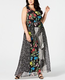 Calvin Klein Plus Size Mixed-Print Maxi Dress