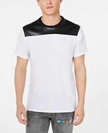 GUESS Men's Mason Shine Colorblocked T-Shirt with Faux-Leather Piecing