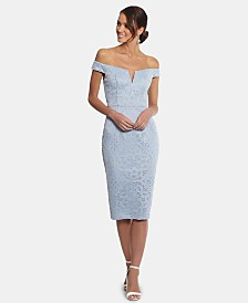 XSCAPE Petite Off-The-Shoulder Sheath Dress