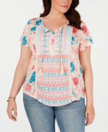 Style & Co Plus Size Printed Embroidered Peasant Top, Created for Macy's