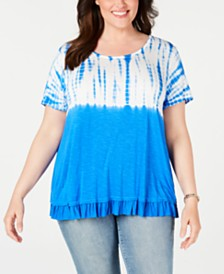 Style & Co Plus Size Tie Dye Ruffle-Hem Top, Created for Macy's