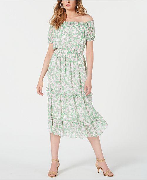 Avec Les Filles Off-The-Shoulder Ruffled Dress
