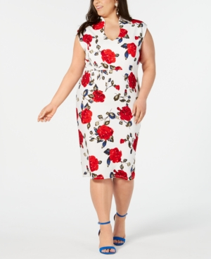 Almost Famous Juniors' Plus Size Printed Sheath Dress In Cream/Red Floral