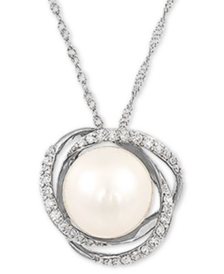 Honora Freshwater Pearl /& 1//8 ct Diamond Pendant in 14K Rose Gold-Plated Silver