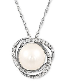 "Cultured Freshwater Pearl (8mm) & Diamond (1/8 ct. t.w.) 18"" Pendant Necklace in 14k White Gold"