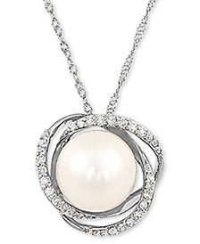 "Honora Cultured Freshwater Pearl (8mm) & Diamond (1/8 ct. t.w.) 18"" Pendant Necklace in 14k White Gold"