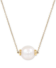 """Honora Cultured White Ming Pearl (12mm) 18"""" Pendant Necklace in 14k Rose Gold or 14k Gold"""