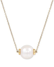 "Honora Cultured White Ming Pearl (12mm) 18"" Pendant Necklace in 14k Rose Gold or 14k Gold"