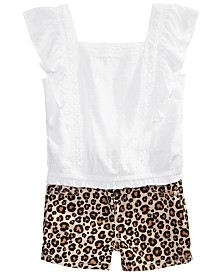 Epic Threads Big Girls Flutter Top & Leopard-Print Shorts Separates, Created for Macy's