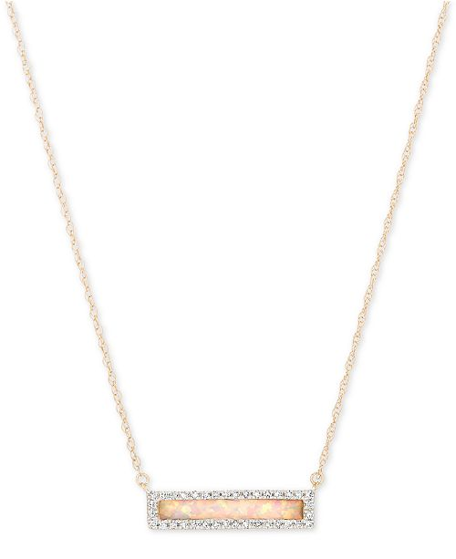 """Elsie May Opal (3/8 ct. t.w.) & Diamond (1/10 ct. t.w.) Dash Pendant Necklace in 14k Gold, 17"""" + 1"""" Extender"""