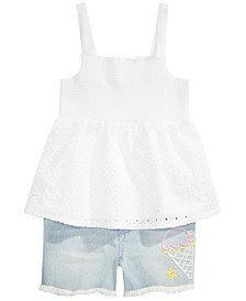 Epic Threads Big Girls Ice Cream Denim Shorts & Tiered Smock Top Separates, Created for Macy's