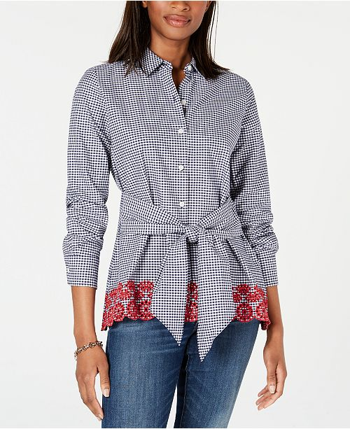 Tommy Hilfiger Gingham Tie-Waist Cotton Top, Created for Macy's