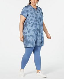 Plus Size Tie Dyed Lace-Up Tunic, Created for Macy's