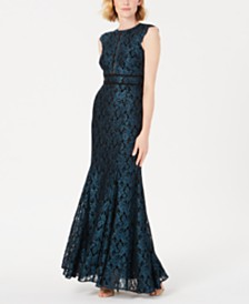 Nightway Petite Glitter Lace Gown