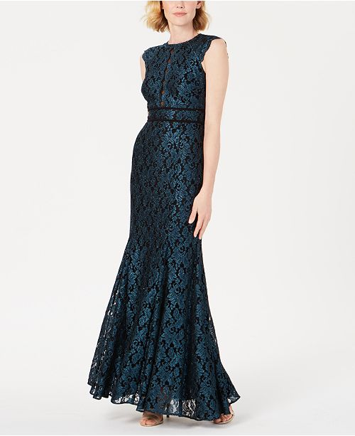 Nightway Glitter Lace Gown