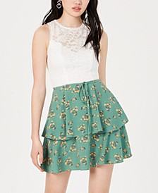 Juniors' Lace Floral-Print Fit & Flare Dress