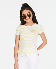 Epic Threads Big Girls Striped Tie-Front T-Shirt, Created for Macy's