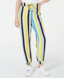 Material Girl Juniors' Lace-Up Jogger Pants, Created for Macy's