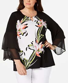 JM Collection Plus Size Printed Bell-Sleeve Tunic, Created for Macy's