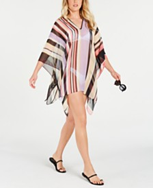 Calvin Klein Striped Chiffon Poncho Cover-Up