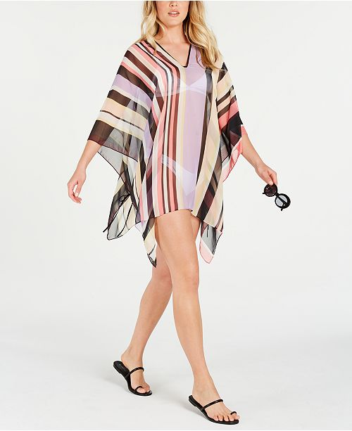 Calvin Klein Striped Chiffon Poncho Cover Up Reviews Handbags Accessories Macy S