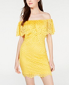 Juniors' Off-The-Shoulder Lace Ruffle Bodycon Dress