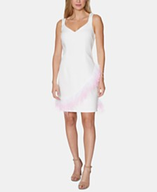Laundry by Shelli Segal Feather-Trim Sheath Dress