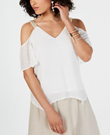 Thalia Sodi Embellished-Sleeve Cold-Shoulder Top, Created for Macy's