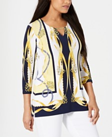 JM Collection Toggle Neck Top, Created for Macys
