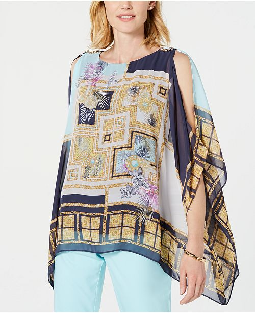 JM Collection Chain-Shoulder Printed Poncho Top, Created for Macy's