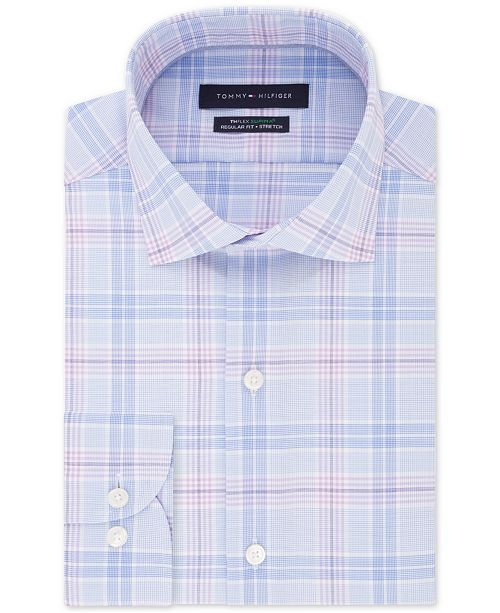 Tommy Hilfiger Men's Big & Tall Classic/Regular-Fit THFlex Stretch Non-Iron Plaid Dress Shirt