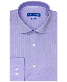 Vince Camuto Men's Slim-Fit Stretch Light Purple Tonal Stripe Dress Shirt