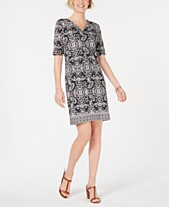 3a00e2aeb4cb Karen Scott Printed Elbow-Sleeve Dress, Created for Macy's