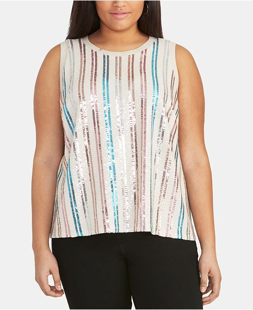 RACHEL Rachel Roy Plus Size Sequined Tank Top