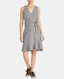 Dawn Striped Faux-Wrap Dress
