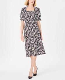 Kasper Printed Top & A-Line Skirt