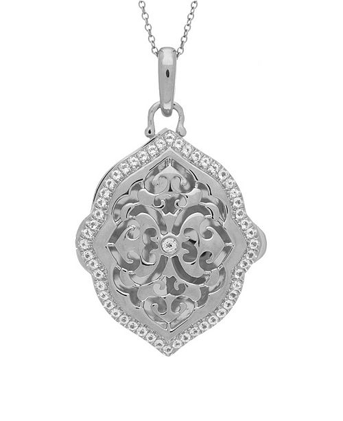 With You Lockets Maggie White Topaz (1 ct. t.w.) Photo Locket Necklace in Sterling Silver