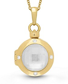 Shelly Mother of Pearl and Diamond Accent Photo Locket Necklace in 14k Yellow Gold over Sterling Silver