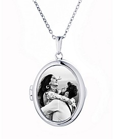 Ginny Oval Glass Photo Locket Necklace in Sterling Silver