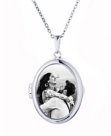 With You Lockets Ginny Oval Glass Photo Locket Necklace in Sterling Silver