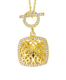 Amelia Toggle Locket Necklace with Swarovski Crystals in 14k Yellow Gold over Sterling Silver (Also Available in 14k Rose Gold over Sterling Silver)