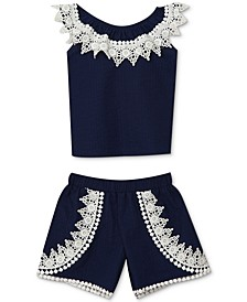 Baby Girls 2-Pc. Lace Embellished Top & Shorts Set