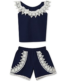 Rare Editions Baby Girls 2-Pc. Lace Embellished Top & Shorts Set