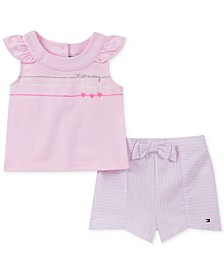 Baby Girls 2-Pc. Top & Striped Shorts Set