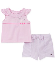 Tommy Hilfiger Baby Girls 2-Pc. Top & Striped Shorts Set