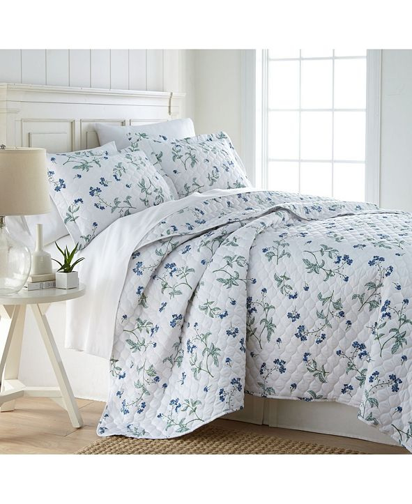 Southshore Fine Linens Forget Me Not Quilt and Sham Set, Full/Queen