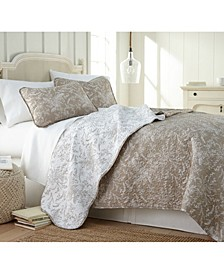 Lightweight Reversible Floral Quilt and Sham Set, Full/Queen