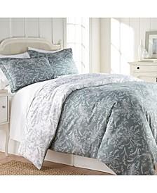 Reversible Down Alternative Floral Comforter and Sham Set