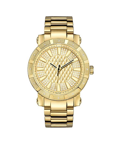 "Jbw Men's ""562"" Diamond (1/8 ct.t.w.) 18k Gold Plated Stainless Steel Watch"